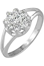 Sterling Silver Round Cubic Zirconia Flower Ring