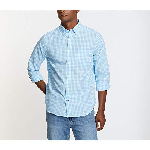 Nautica Men's Wrinkle Resistant Long Sleeve Button Front Shirt, Cool Breeze, Large (Men Dress Shirt Nautica)