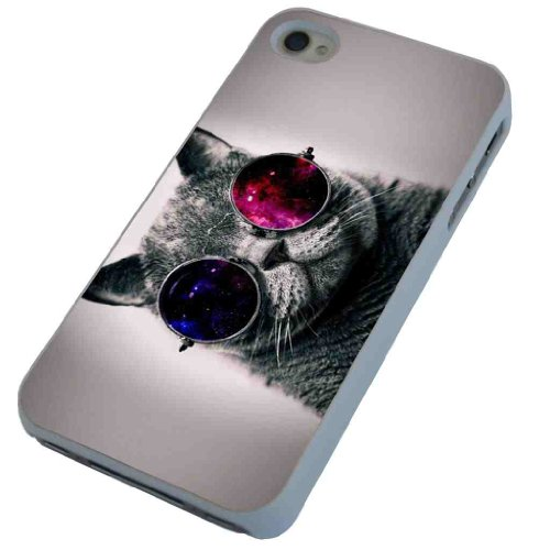 Cool funky fun grey cat in shades sunglasses Designer iphone 4 4S Hülle Case Back Cover Kunststoff