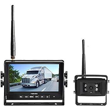 Haloview MC7108 7'' 720P HD Digital Wireless Rear View Camera System 7'' LCD Reversing Monitor and IP69K Waterproof Backup Camera Built in DVR Kit For Truck/Trailer/Bus/RV/Pickups/Camper/Van/Farm Mach
