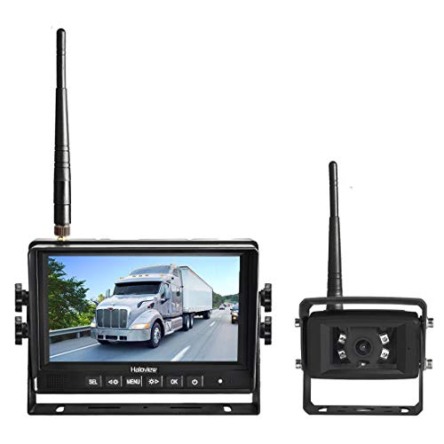 Haloview MC7108 7'' 720P HD Digital Wireless Rear View Camera System 7'' LCD Reversing Monitor and IP69K Waterproof Backup Camera Built in DVR Kit For Truck/Trailer/Bus/RV/Pickups/Camper/Van/Farm Mach