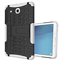 "MOONCASE Galaxy Tab E 9.6-inch Case Built-in Kickstand Hybrid Armor Case Detachable 2 in 1 Shockproof Tough Rugged Dual-Layer Case Cover for Samsung Galaxy Tab E 9.6"" White"