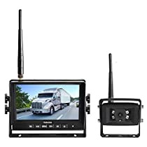 Haloview MC7108 7 720P HD Digital Wireless Backup Camera System 7 LCD Reversing Monitor and IP69K Waterproof Rear View Camera Built in DVR Kit For Truck/Trailer/Bus/RV/Pickups/Camper/Van/Farm Mach