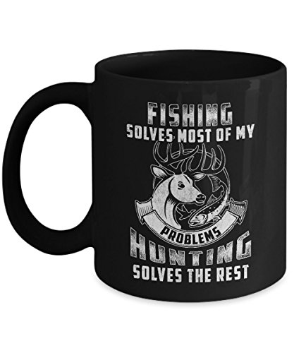 BEST QUALITY, Fishing Mug Solves Most, Funny Fishing Coffee Mug, Fishing Gifts, 11 & 15 Ounce Ceramic Coffee or Tea Mug By - For Do Glasses Face Measure I My How