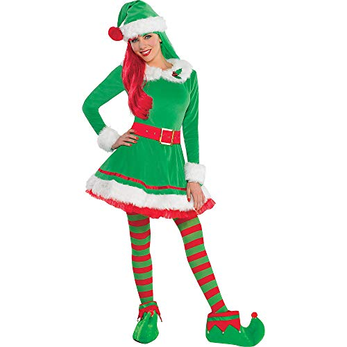Elf Outfits For Adults (amscan 843664 Elf Costume, Medium (6-8), Green, Red,)