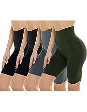 Paquete de 4 pantalones cortos de motociclista para mujer, cintura alta, control de abdomen, pantalones cortos de entrenamiento para yoga, correr, atlético