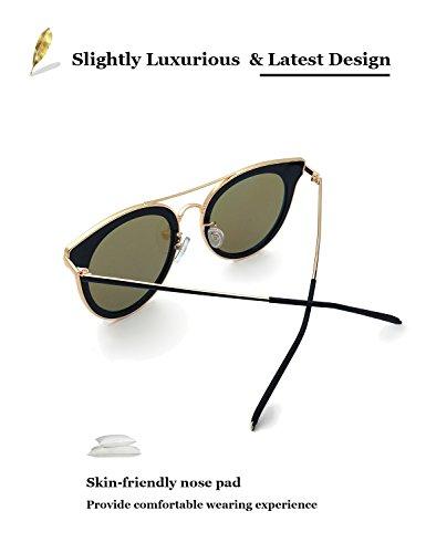Classic oscuro Gafas viaje 400 Star para pro Sol Fashion Polarizadas conducción nbsp;– Vintage UV Ladies 100 marca mujer funda nbsp;dada vacaciones Dorado De nbsp;protección gafas Cateye para vwH6vd
