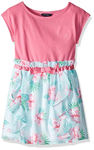- Nautica Girls' Patterned Sleeveless Dress bright pink floral 6X