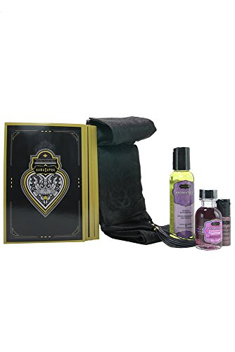 """5 Piece Erotic Playset - """"Surprise Me"""" Set - Seductive Blindfold with Leather Tassel, Massage Oil, Oil of Love, Love Liquid, 12 Play Cards - Limited Edition Kit by Kama Sutra (Making Love Massage Oil)"""