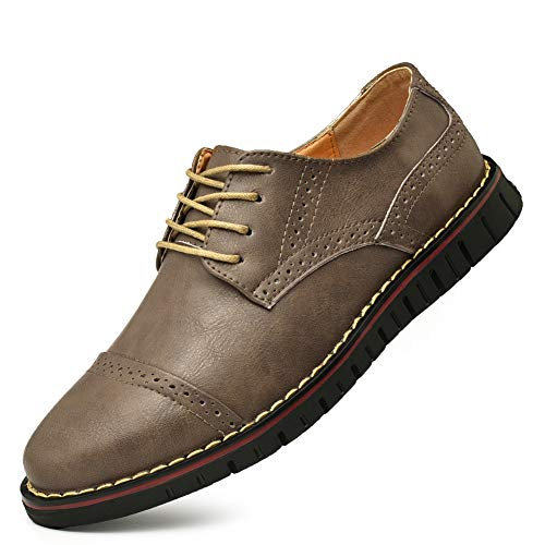 (Men`s Brogues Oxford Wingtip Formal Dress Shoes Lace-up Casual Shoes Business Leather Oxford Khaki)