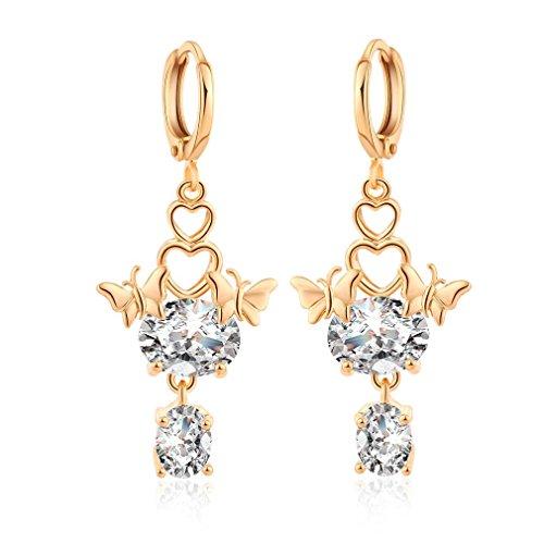 Yazilind 18K Gold Plated Cubic Zirconia Hoop Earrings Butterfly Dangle Earrings for Women