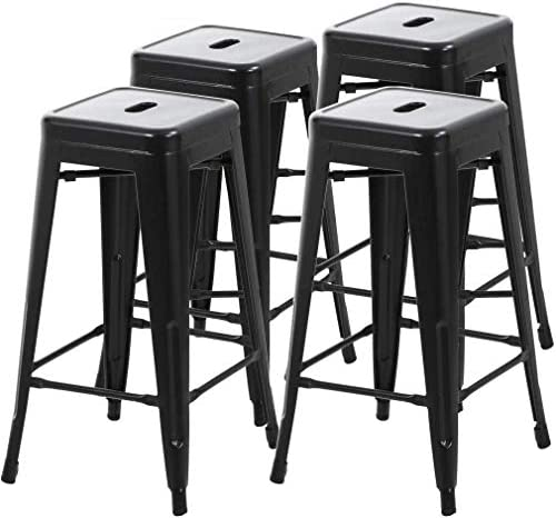 Metal Bar Stools Counter Height Indoor Outdoor Stackable Set of 4 Barstools 30″ Backless Restaurant Kitchen Dining Chairs Patio Bistro Pub Trattoria Tolix Industrial Stools Hold Up to 330Lb
