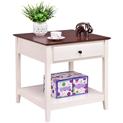 Giantex Wood End Table with Drawer & Storage Shelf Night Stand Coffee Table, Walnut & White