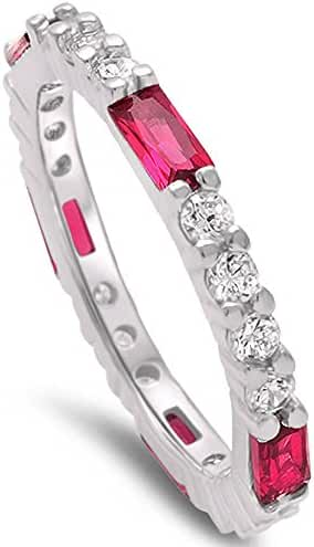 Baguette Simulated Ruby & Round Cubic Zirconia Band .925 Sterling Silver Ring Sizes 4-12
