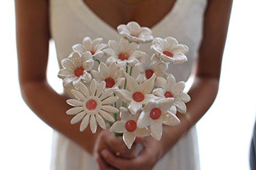 Holiday Surprise Bouquet (Handmade Ceramic Alternative Wedding Bridal Bouquet for a Shabby Chic Rustic Wedding, 12 Flowers Set)