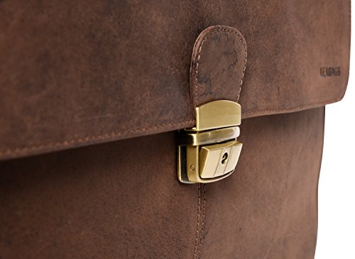 LEABAGS Miramar Briefcase of Genuine Buffalo Leather in Vintage Look - Muskat by LEABAGS (Image #8)