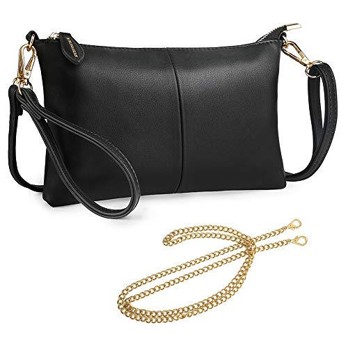 S SUNINESS Anti Theft Crossbody bags - Women Sling Purse Lightweight PU Leather Wallet Wristlet Bags with Adjustable, Chain and Wristlet Strap (Black)