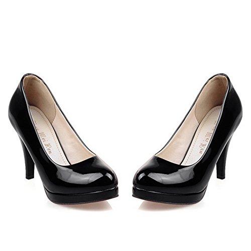 BalaMasa da donna slip-on high-heels solido in vernice pumps-shoes, Nero (Black), 35 EU