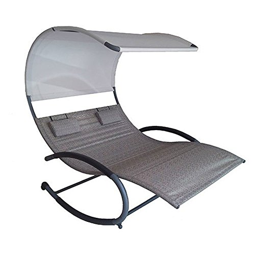 Vivere CHAISERK2-SA Double Chaise Rocking Chair, Sienna