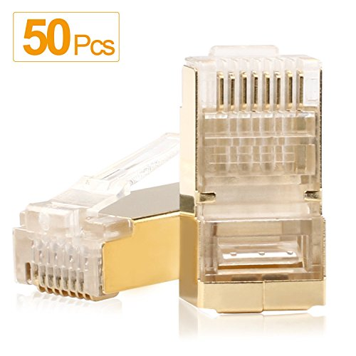 SHD RJ45 Connectors Golden Shielded RJ45 Ends 8P8C FTP STP Network Plug for CAT5E CAT6 Stranded Cable 50PCS