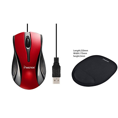 Insten Red/Black USB Optical Scroll Wheel Mouse with FREE Black Wrist Comfort Mouse Pad For Optical/Trackball ()
