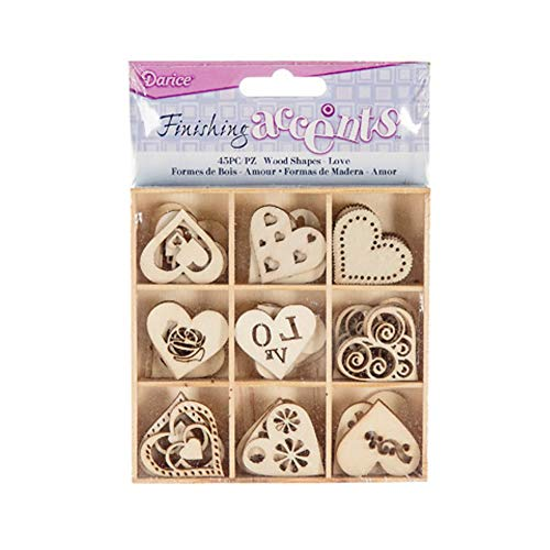 - Finishing Accents 23462 45 Piece Mini Laser Cuts Wood Shapes, Hearts Theme, Multicolor