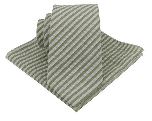 Mens Seersucker Tie Set : Necktie with Matching Pocket Square -3 Inch Width (Sage Green)