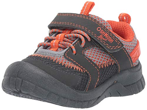 OshKosh B'Gosh Lago Boy's Mesh Athletic Bumptoe Sneaker, Grey/Orange, 9 M US Toddler (Shoes Toddler Oshkosh Boys)