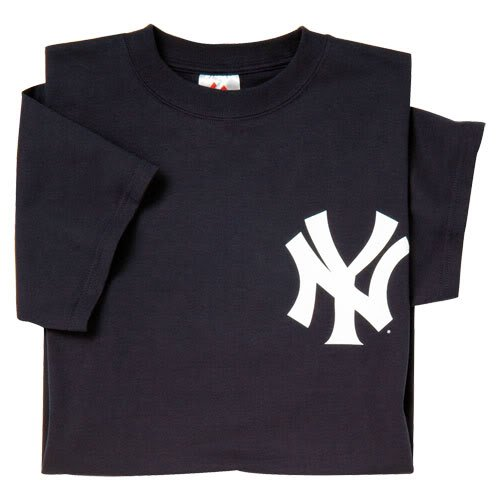 New York Yankees (ADULT LARGE) 100% Cotton Crewneck MLB Officially Licensed Majestic Major League Baseball Replica T-Shirt Jersey