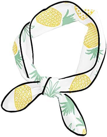 Neckerchief For Women Ladies Girls, Pineapple Print Seamless Pattern Headband, Skinny & Long Handbag Handle Decor Wrap, Classic Knotted Yoga Head Wrap, Small Cute Neck Scarf