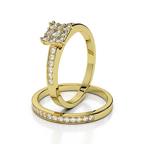 Or jaune 18carats 1CT G-H/VS sertie de diamants Coupe ronde de mariage Bague de fiançailles et ensemble de Agdr-2029