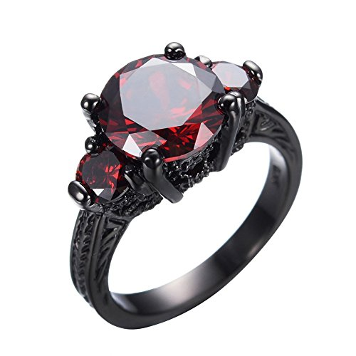 JunXin Black Gold Round Cut Three-Stone Ruby Diamond Ring Cubic Zirconia Size6/7/8/9/10