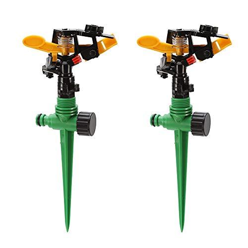 Aspersores para jardín, 360 aspersores de Impacto Giratorio para césped Sistema de riego oscilante Ajustable de Larga...