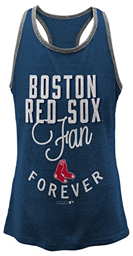 OuterStuff MLB Boston Red Sox Girls 7-16 I'M A Fan Forever Racer Tank-L (14) Red Sox Tank