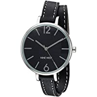 Nine West Women's NW/2017BKBK Silver-Tone and Black Double Wrap Strap Watch