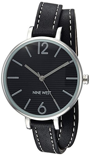 Nine West Women's NW/2017BKBK Silver-Tone and Black Double Wrap Strap Watch