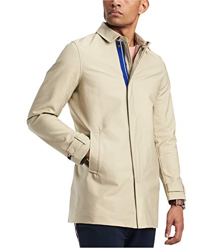 Tommy Hilfiger Mens Wishart Core Trench Coat, Beige, Large