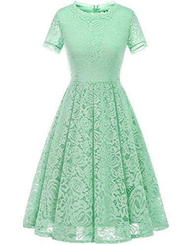 DRESSTELLS Women's Bridesmaid Elegant Tea Dress Floral Lace Cocktail Formal Swing Dress Mint XL