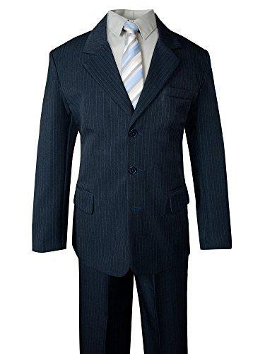 Spring Notion Big Boys' Pinstripe Suit Set Navy-Ivory Blue Stripes 4T Blue Pinstripe Tuxedo