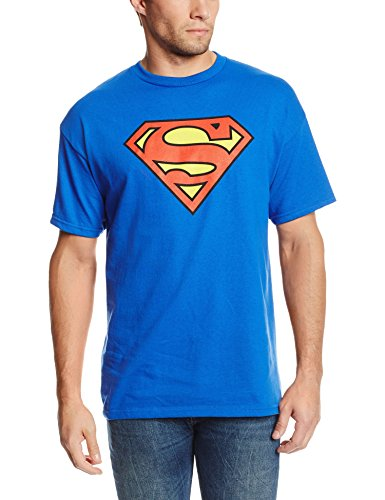 DC Comics Superman Classic Logo Men's T-shirt, Large, Royal ()