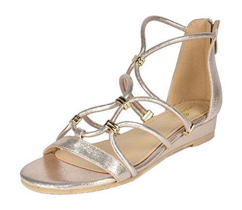 DREAM PAIRS Women's Formosa_2 Gold Low Platform Wedges Ankle Strap Sandals Size 10 B(M) US ()