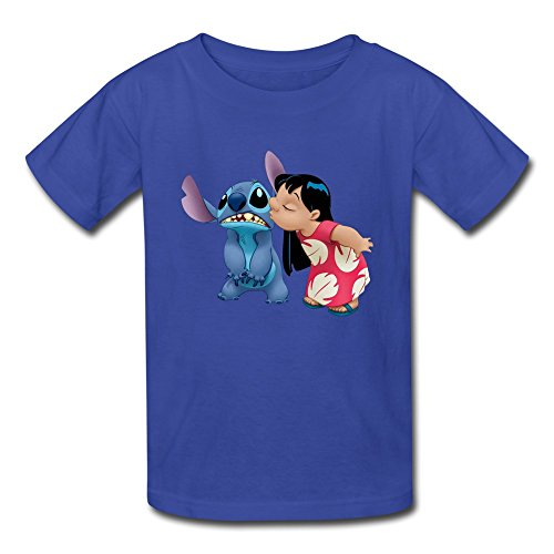 Price comparison product image Boy's & Girls Tee The Cartoon Stitch And Lilo Kiss RoyalBlue Size XL