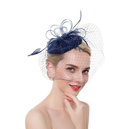 MEILIS Flower Cocktail Tea Party Headwear with Veil Feather Fascinators Derby Hat for Girls and Women ()