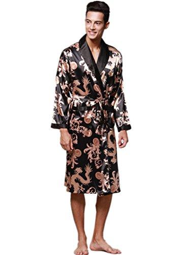 91183de037 YUAKOU Men s Short Kimono Robes Chinese Dragon and Phoenix Pattern Silk  Nightwear Bathrobes