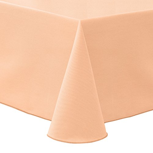 Ultimate Textile Poly-cotton Twill 52 x 70-Inch Oval Tablecloth - Oval Peach