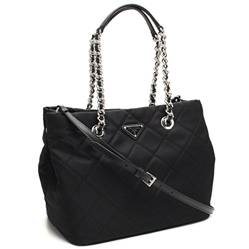 Prada Women's Black Quilted Tessuto Chain Shoulder Tote Bag 1BG740 (Chain Prada Bag)