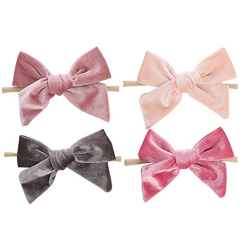 5 inch Big Velvet Nylon Headbands-BEAMIO Baby Hair Bows Elastics Hairbands for Girls Newborn Infant Toddlers Kids ()