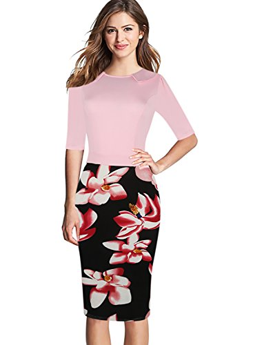 oxiuly Women's Floral Flare Patchwork Casual Cocktail Party Pencil Midi Dress OX235 (M, Pink)