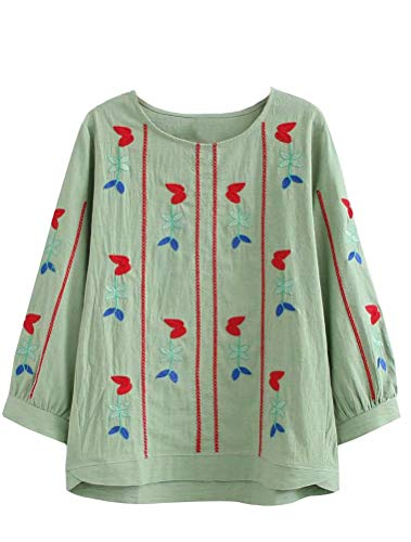 Mordenmiss Women's New Embroidered Tops Spring/fall Cotton Linen Shirt (Green,XL)