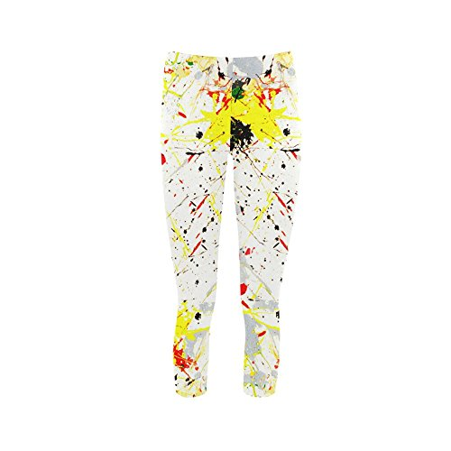 D-Story Yellow &Amp; Black Paint Splatter Capri Legging Skinny Pants